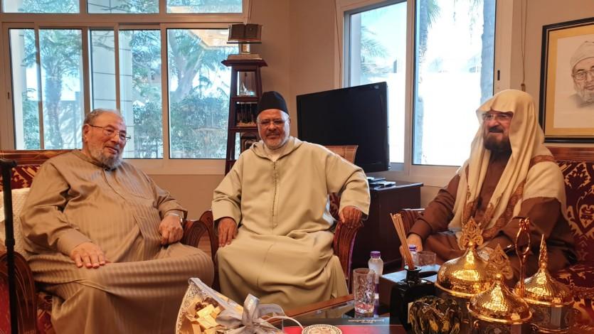 مع فضيلة الدكتور أحمد الريسوني رئيس الاتحاد العالمي لعلماء المسلمين وفضيلة الدكتور علي القرة داغي الأمين العام للاتحاد